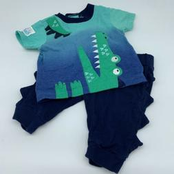 Baby Starters 3M Boys Outfit Alligator Applique 3D Features