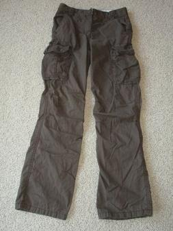 Boys OLD NAVY Brown Lined Cargo Pants Adjustable Waist Size