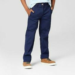 Boys' Flat Front Straight Fit Stretch Uniform Chino Pants -