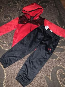 NWT $46 Boys Under Armour Red Black Tracksuit Pants Jacket S