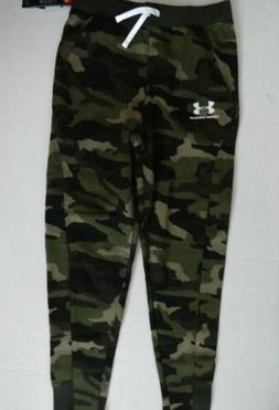 NWT Under Armour BOY'S XL Green Camo Rival Joggers Sweatpant