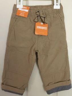 NWT Gymboree Boys Pull on Cargo Pants Jersey Lined Khakis Co