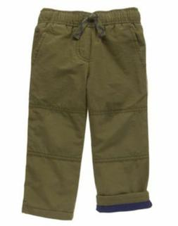 NWT Gymboree Boys Pull on Pants Gymster Fleece Lined green m