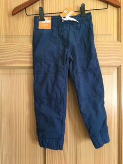 NWT Gymboree Boys Pull on Pants Jersey Lined Jogger Blue 2T,