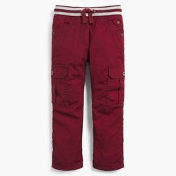 NWT Gymboree Boys Pull on Pants Jersey Lined Maroon Cargo 3,