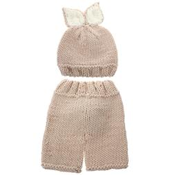 Photography Props Knitted Pants and Hat Baby Costume Set for