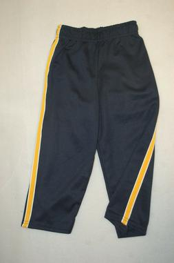 Toddler Boys NAVY BLUE ATHLETIC PANTS Gold Yellow Side Strip