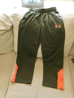 YOUTH MEDIUM UNDER ARMOUR NFL COMBINE ARMY GREEN ORANGE PANT